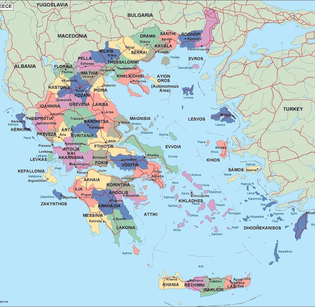 Mapa Politico De Grecia.Grecia Mapa Politico Mapa Politico De Grecia Sur De